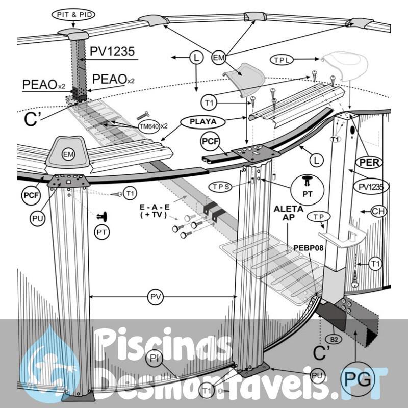 Piscina intex metal frame 305x76 cm com filtro 56008 for Filtro para piscina intex